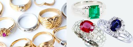ダイヤモンドのジュエリーや宝石の付いた指輪やネックレスやブレスレット