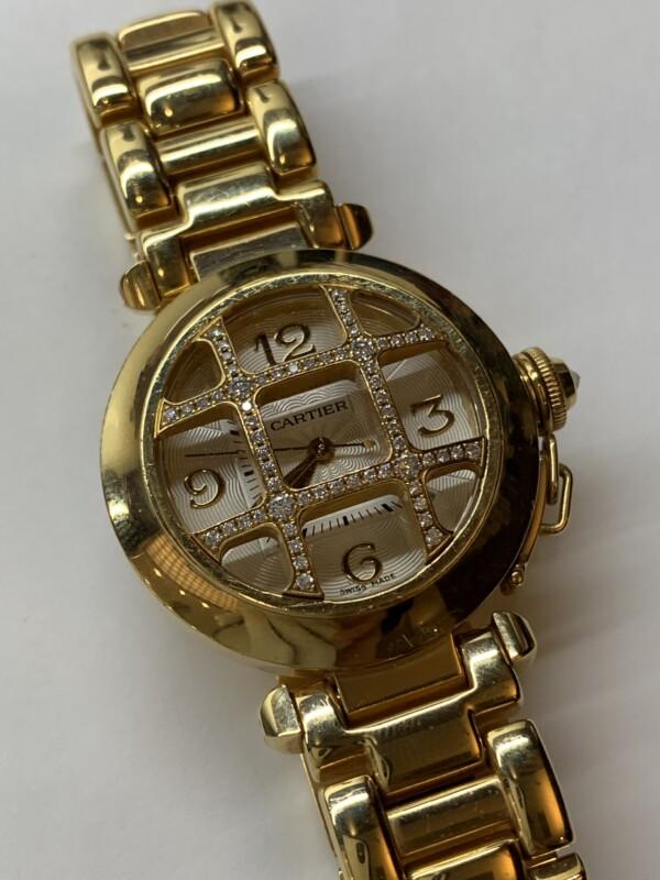 カルティエ パシャ750イエローゴールド グリッドダイヤ